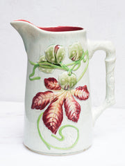 Antique Majolica Chestnut Pitcher