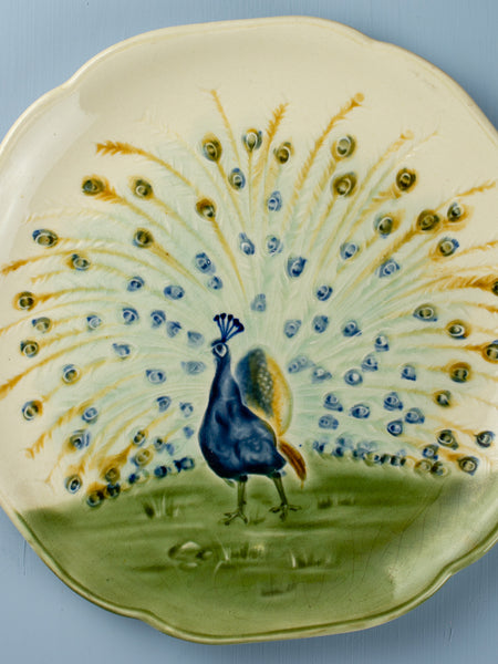 Antique Majolica Peacock Plate