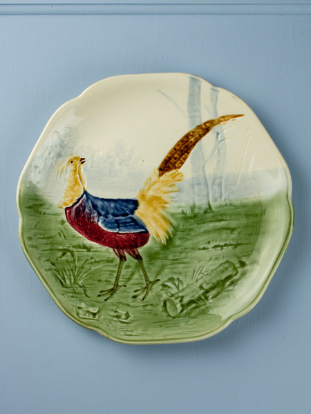 50% OFF! Antique Majolica Pheasant Plate
