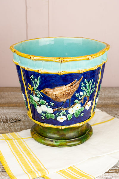 Vintage French Majolica Floral Cachepot