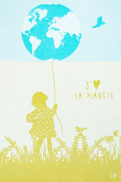 Moutet I Love The Planet Tea Towel