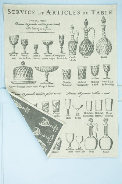 "Moutet ""Service et Articles de Table"" French Glassware Tea Towel"