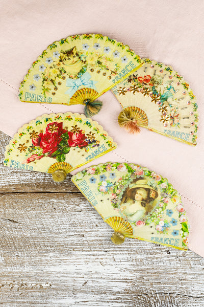 Antique French Notions Fan - Large