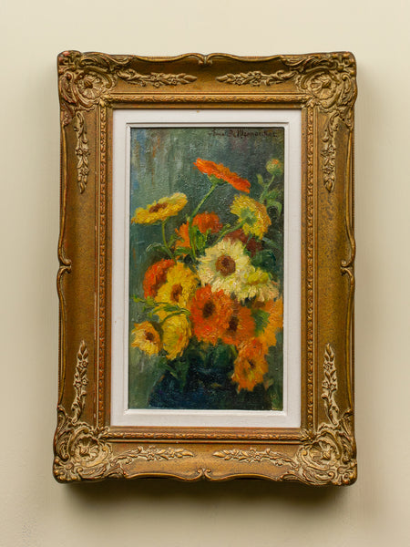 Vintage Orange and Yellow Floral Painting