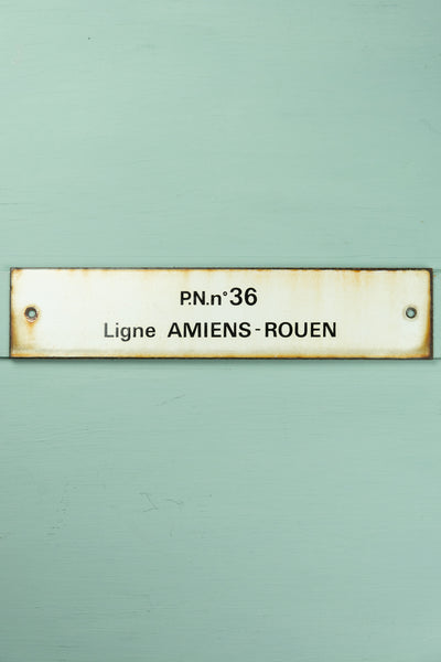 "Vintage French Train Sign - ""P.N. no 36 Ligne Amiens-Rouen"""