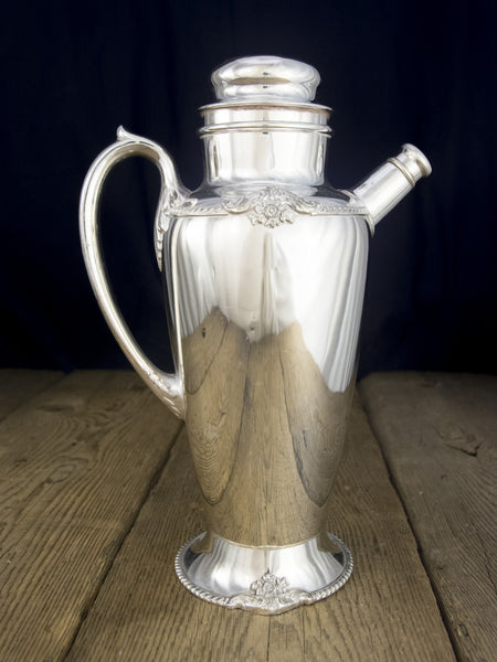 Vintage Large Silverplate Cocktail Shaker Side Spout