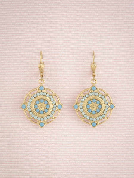 Floral Crystal Medallion Earrings
