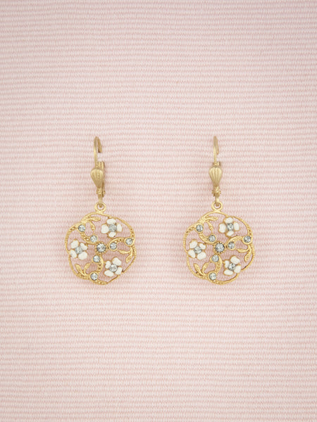 Round Floral Enamel Earrings