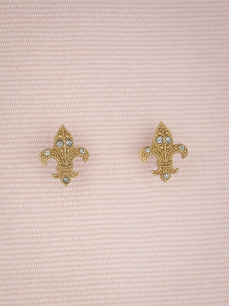 Fleur de Lis Golden Stud Earrings