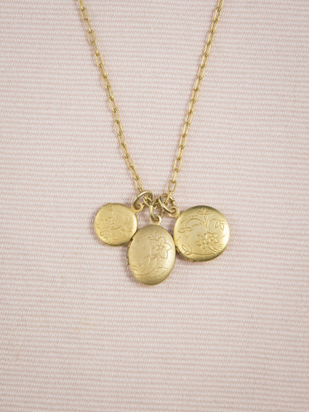 Gold Triple Locket Necklace