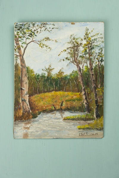 Vintage Forest with Pond Painting