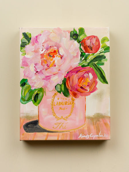 Original Peonies In Ladurée Tin Painting - 8x10