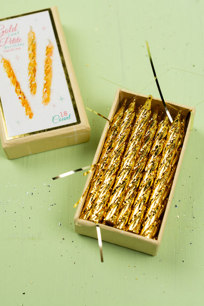 Petite Gold Leaf Birthday Party Candles