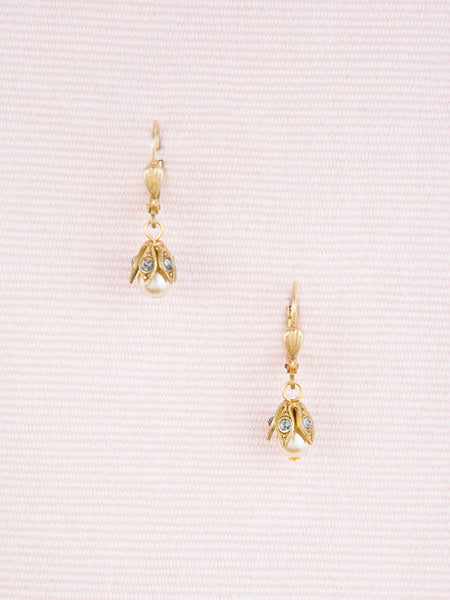 Petite Pearl and Crystal Golden Drop Earrings