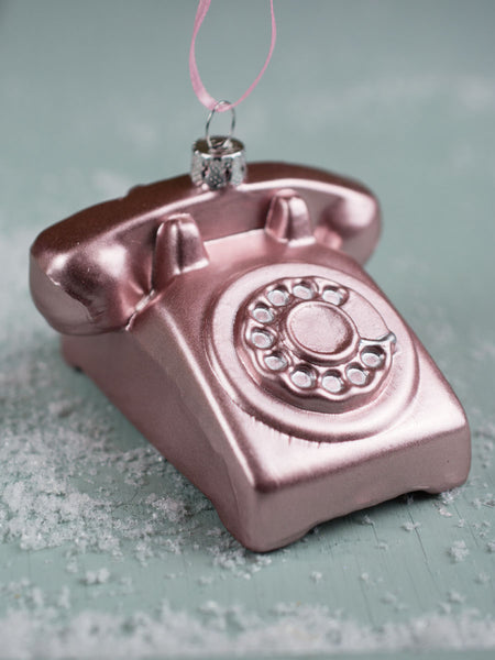 Pink Phone Glass Ornament