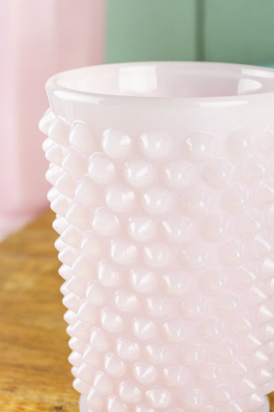 Pink Milk Glass Hobnail Tumbler