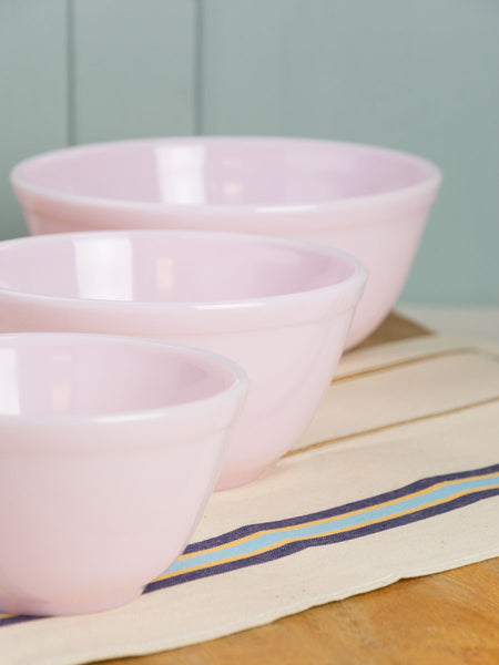 Pink Milk Glass Mixing Bowls - Set of 3