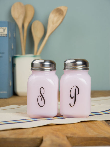 Pink Milk Glass Salt and Pepper Set