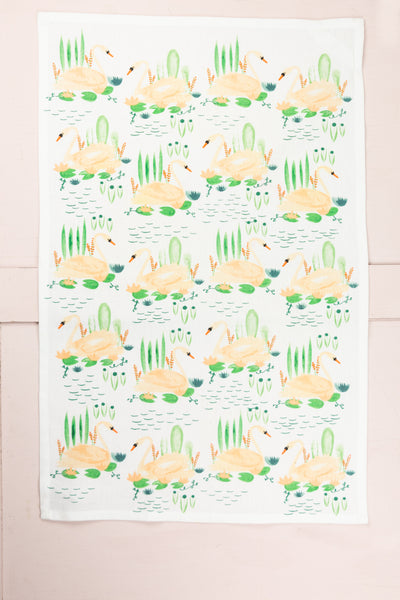 Pink Swan Lake Tea Towel
