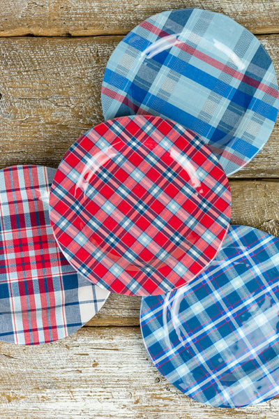 Madras Plaid Melamine Salad Plates