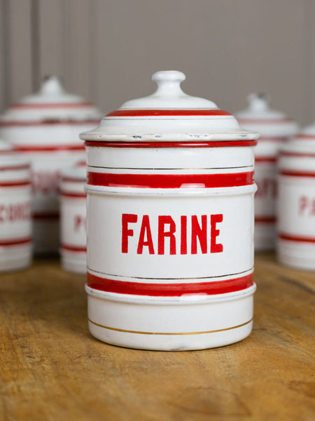 Red & White Vintage Enamelware Canister Set - Set of 6