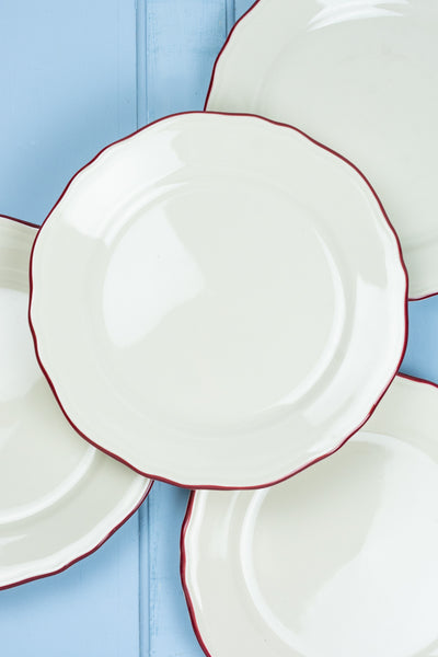 Scalloped Edge Red Rim Dinner Plates - Set of 4