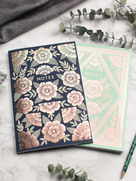 Floral Rose Gold Notebooks - Set of 2