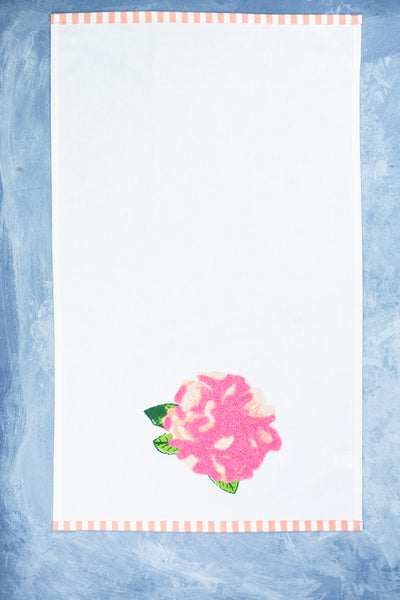 Rosy Embroidered Tea Towel