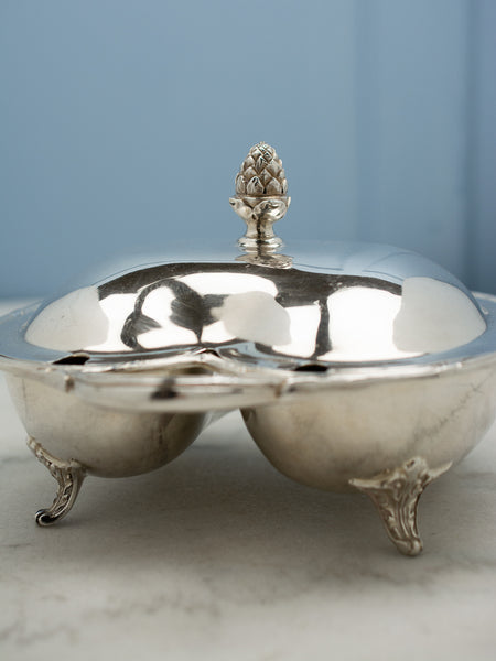 Vintage Silverplate Covered Divided Dish