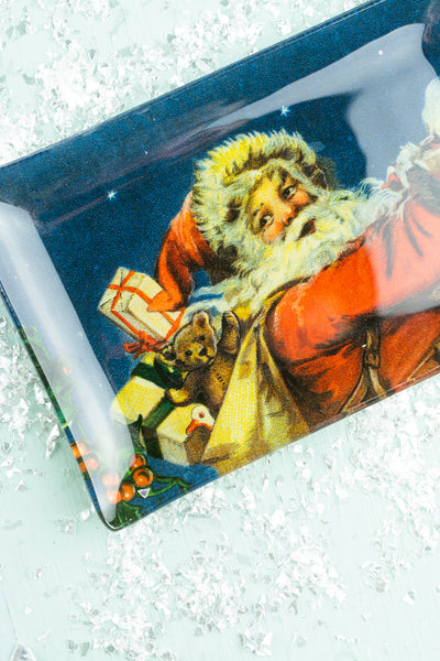 Santa Decoupaged Glass Trinket Dish