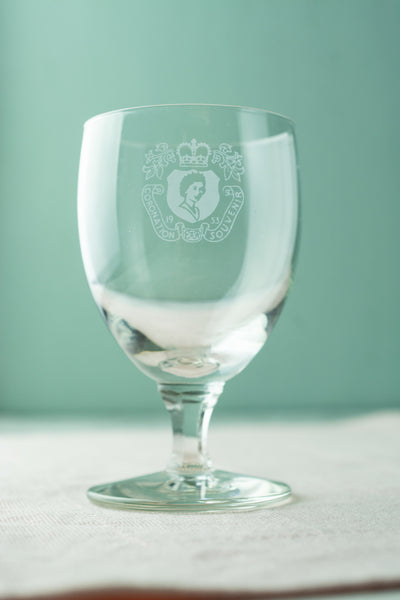 Set of 4 Vintage Queen Elizabeth II 1953 Coronation Wine Glasses