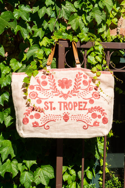 St. Tropez Embroidered Jute Bag