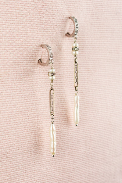 Vintage Sterling Needle Pearl Earrings