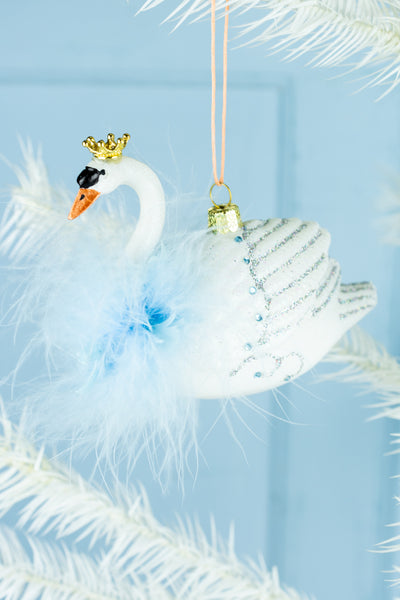Regal Swan Ornament - Blue