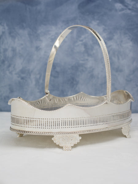 Vintage Silverplate Swing Handle Gallery Tray