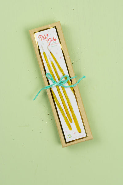 Tall Gold Leaf Birthday Party Candles