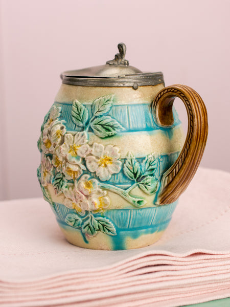Victorian Majolica Blue Barrel Floral Pitcher with Lid