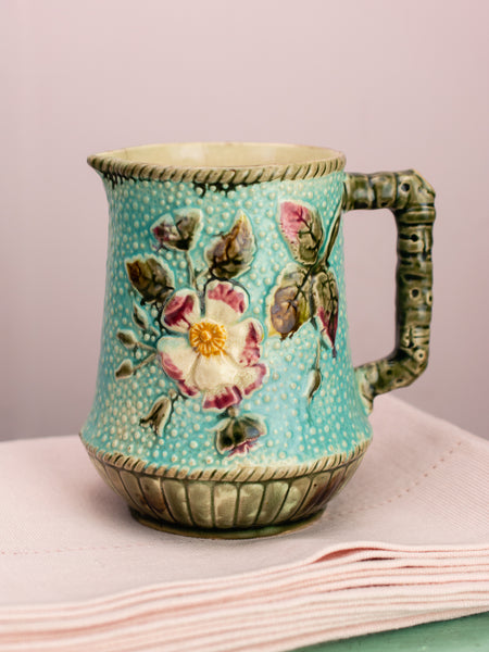 Victorian Majolica Blue Textured Floral Pitcher