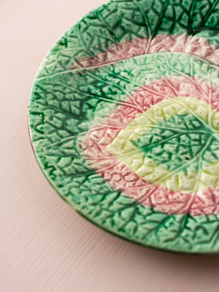 Victorian Majolica Pink & Green Textured Leaf Plate