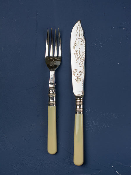 Victorian Ivorine Fish Set - Service for 12