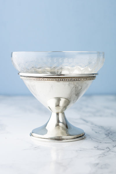 Antique Crystal and Sterling Dessert Coupes - Set of 6