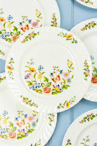Vintage Aynsley Cottage Garden Dinner Plates - Set of 10