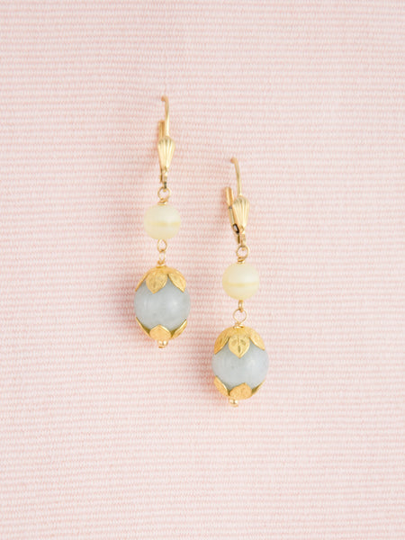 Vintage Beads & Gold Earrings