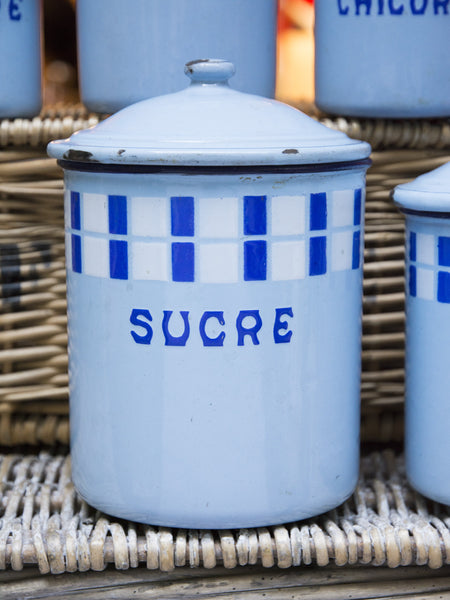 Vintage Blue Enamelware Canister Set - Five Piece