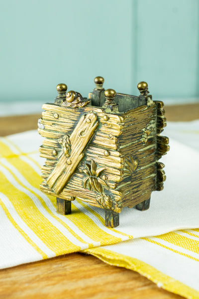 Vintage French Brass Wooden Box Matchstick Holder