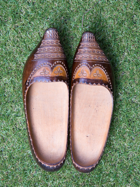 Vintage Basque Wooden Clogs