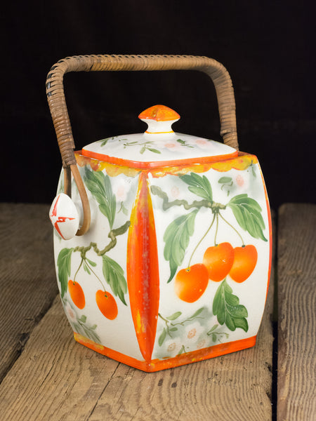 Vintage Czech Cherry Biscuit Barrel