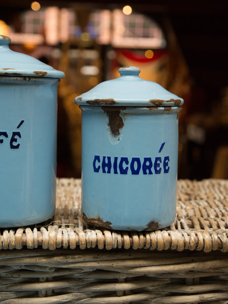 Vintage Enamelware Canister Set With Allumette Box
