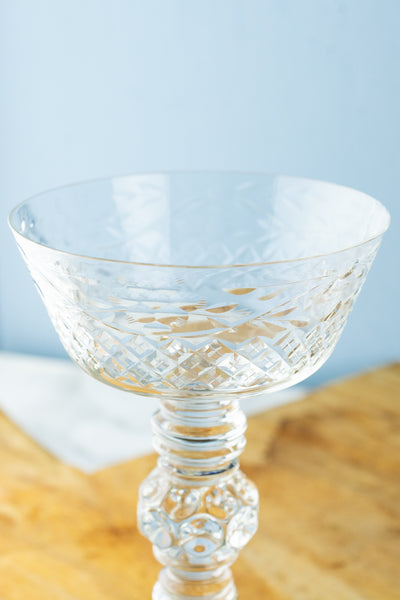 Vintage Crystal Champagne Coupes - Set of 5