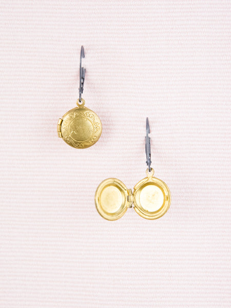 Vintage Gold Locket Earrings with Oxidized Sterling